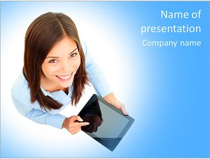Шаблон презентации PowerPoint: Деловая женщина с планшетом