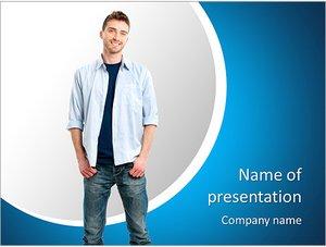 Шаблон презентации PowerPoint: Счастливый улыбающийся молодой человек
