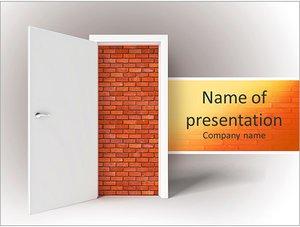 Шаблон презентации PowerPoint: Кирпичная стена за дверью