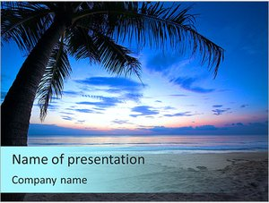 Шаблон презентации PowerPoint: Тропический закат с пальмой