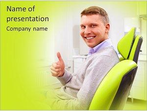 Шаблон презентации PowerPoint: Довольный пациент в стоматологической клинике