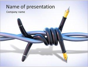 Шаблон презентации PowerPoint: Колючая проволока из перьевой ручки