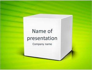 Шаблон презентации PowerPoint: Белый куб на зеленом фоне