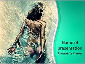 Шаблон презентации PowerPoint: Девушка в душе за занавеской