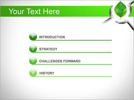 Шаблон для презентации Руки с зеленым листом - Третий слайд