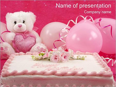Шаблон презентации Торт ко дню рождения - Титульный слайд