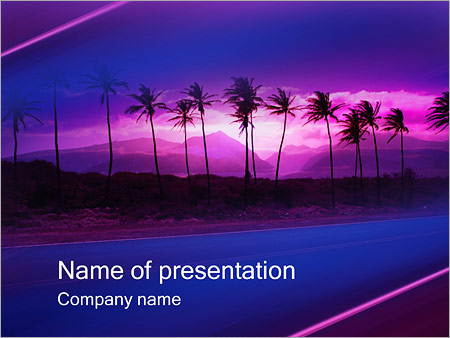 Шаблон презентации Пальмы на закате - Титульный слайд