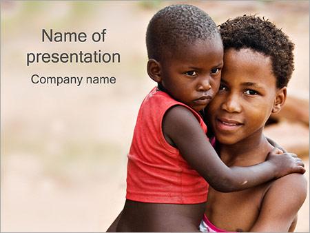 Шаблон презентации Африканские дети - Титульный слайд
