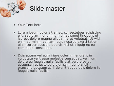 Шаблон PowerPoint Модель молекулы в руках - Второй слайд