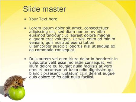 Шаблон PowerPoint Ежик и яблоки - Второй слайд