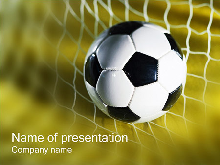 Шаблон презентации Футбольный мяч в сетке - Титульный слайд