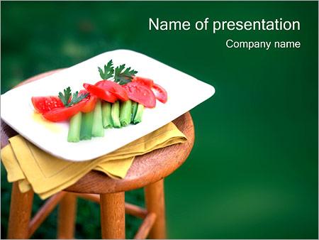 Шаблон презентации Нарезанные овощи на тарелке - Титульный слайд