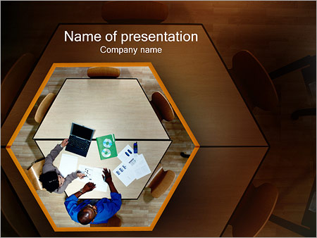 Шаблон презентации Стол бизнес переговоров - Титульный слайд