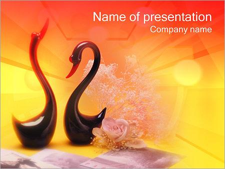 Шаблон презентации Влюбленные лебеди - Титульный слайд