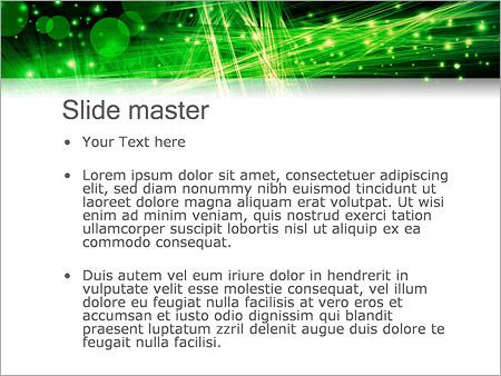 Шаблон PowerPoint Зеленое оптоволокно - Второй слайд