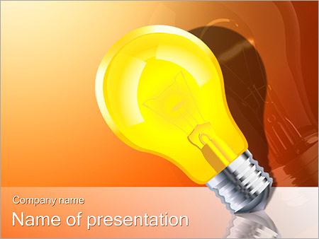 Шаблон презентации Светящаяся желтая лампа - Титульный слайд