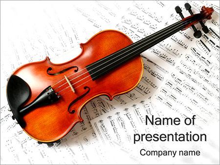 Шаблон презентации Скрипка и ноты - Титульный слайд