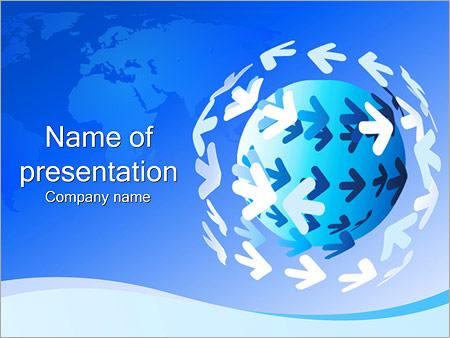 Шаблон презентации Земной шар и стрелки - Титульный слайд