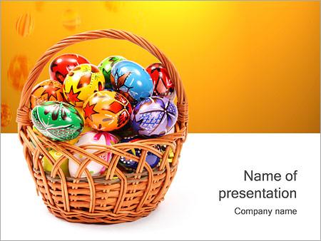 Шаблон презентации Пасхальные яйца в корзине - Титульный слайд