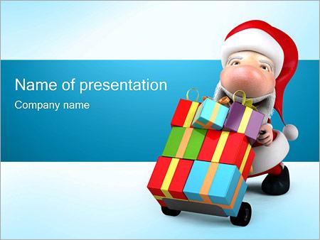 Шаблон презентации Санта Клаус с подарками - Титульный слайд