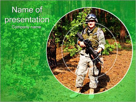 Шаблон презентации Солдат в прицеле - Титульный слайд