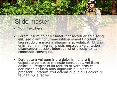Шаблон PowerPoint Солдат в прицеле - Второй слайд