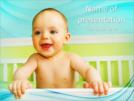 Шаблон презентации Ребенок в кроватке - Титульный слайд