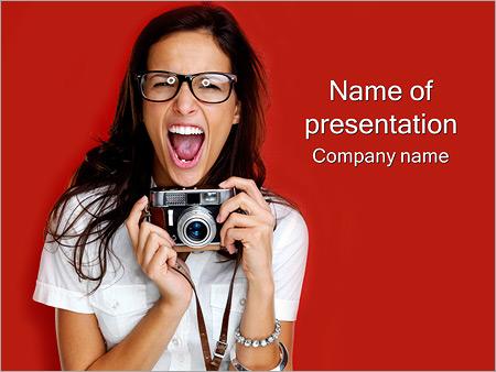 Шаблон презентации Девушка фотограф - Титульный слайд