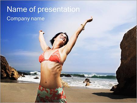 Шаблон презентации Девушка на море - Титульный слайд