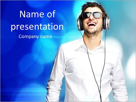 Шаблон презентации Парень в наушниках - Титульный слайд