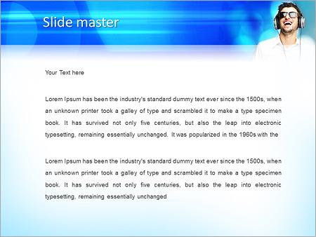 Шаблон PowerPoint Парень в наушниках - Второй слайд
