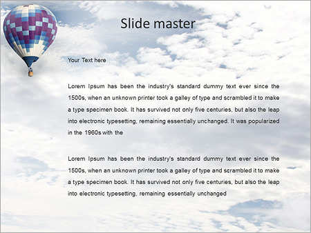 Шаблон PowerPoint Воздушный шар в небе - Второй слайд