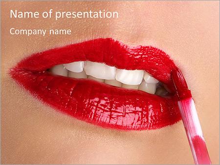 Шаблон презентации Красная помада на губах - Титульный слайд