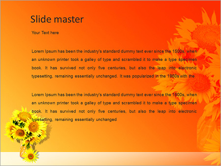 Шаблон PowerPoint Подсолнухи в вазе - Второй слайд