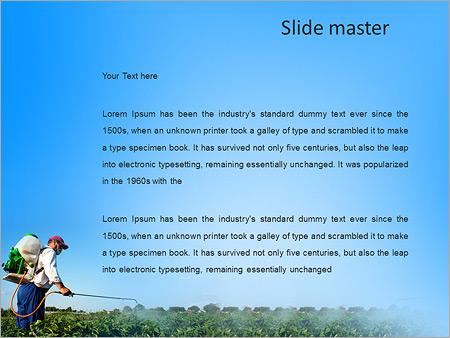 Шаблон PowerPoint Мужчина обрабатывает и опрыскивает растения - Второй слайд