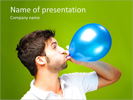Шаблон презентации Мужчина надувает воздушный шар - Титульный слайд