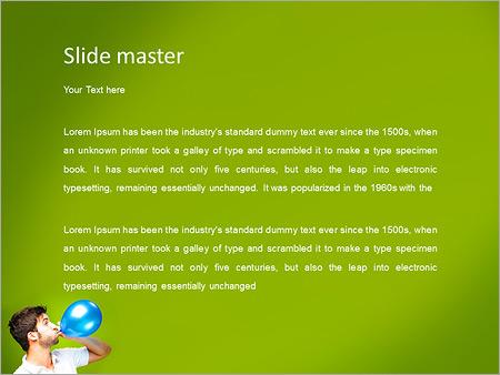 Шаблон PowerPoint Мужчина надувает воздушный шар - Второй слайд