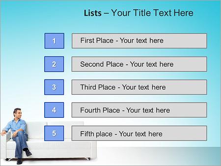 Шаблон для презентации Молодой мужчина сидит на диване - Третий слайд