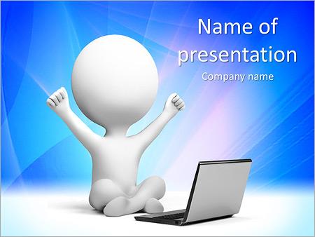 Шаблон презентации Счастливый человек за ноутбуком - Титульный слайд