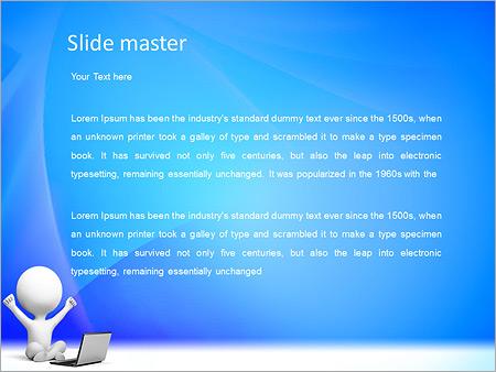 Шаблон PowerPoint Счастливый человек за ноутбуком - Второй слайд