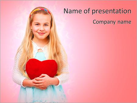Шаблон презентации Девочка с красным сердцем - Титульный слайд