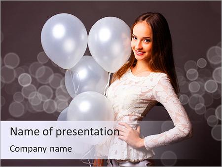Шаблон презентации Красивая девушка с белыми воздушными шарами - Титульный слайд