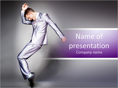 Шаблон презентации Бизнесмен в костюме танцует - Титульный слайд