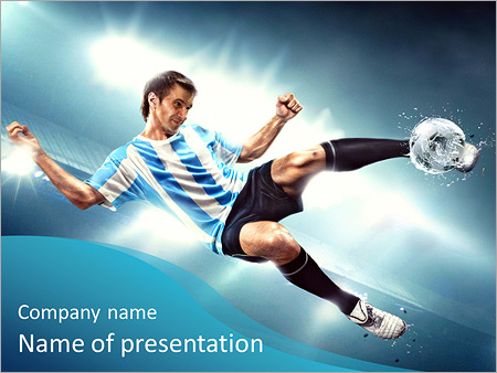 Шаблон презентации Футболист с мячом забивает гол - Титульный слайд