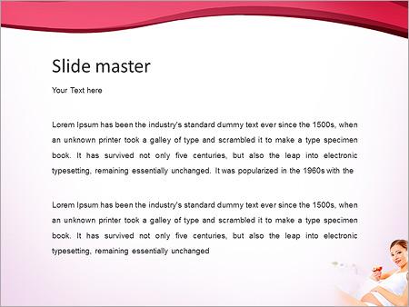 Шаблон PowerPoint Беременная девушка ест яблоко - Второй слайд