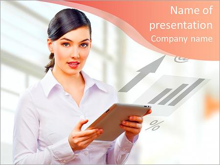 Шаблон презентации Женщина с планшетом в руках - Титульный слайд