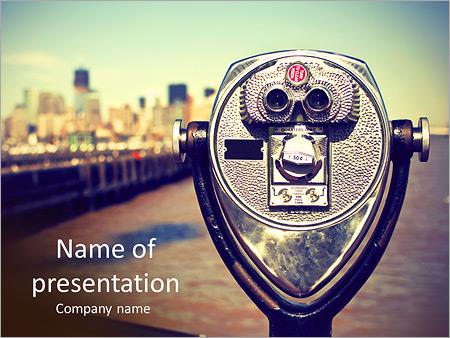 Шаблон презентации Бинокль для туристов - Титульный слайд