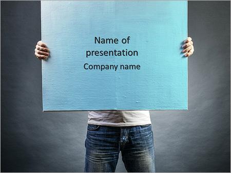 Шаблон презентации Мужчина с холстом в руках - Титульный слайд