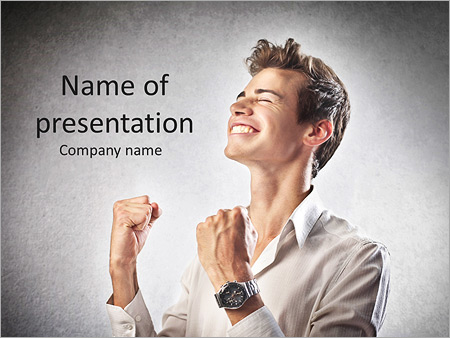 Шаблон презентации Торжествующей бизнесмен - Титульный слайд
