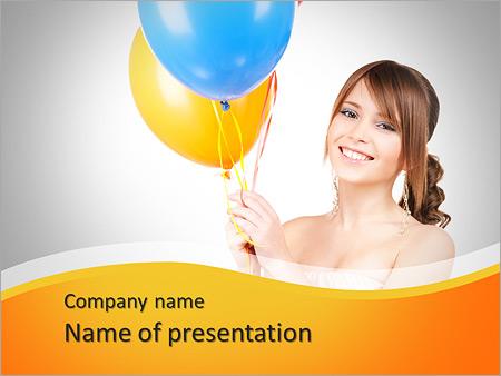 Шаблон презентации Счастливая девушка с воздушными шарами - Титульный слайд